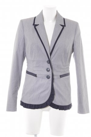 Ashley Brooke Blazer long bleu foncé-blanc rayure fine style d'affaires