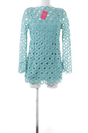 Ashley Brooke Mini-jurk turkoois losjes gebreid patroon casual uitstraling