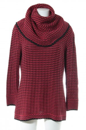 Ashley Brooke Turtleneck Sweater red-black cable stitch casual look