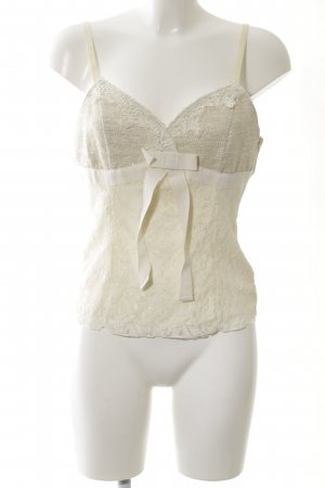 Ashley Brooke Top di merletto bianco sporco elegante
