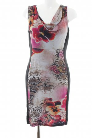 Ashley Brooke Stretch jurk zwart-roze dierenprint casual uitstraling