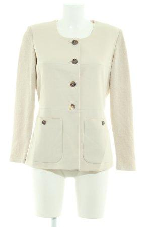 Ashley Brooke Gebreide blazer licht beige-room gestippeld zakelijke stijl