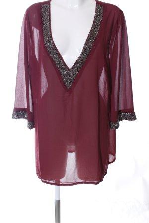 Ashley Brooke Transparante blouse rood-zilver elegant