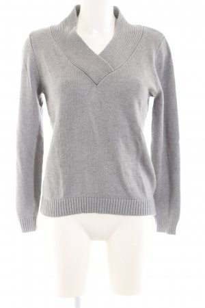 Ashley Brooke V-Neck Sweater light grey flecked casual look