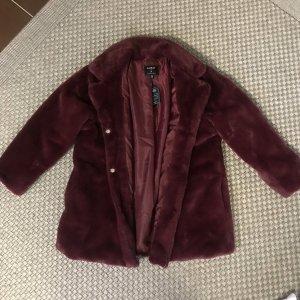 Asos Fake Fur Coat bordeaux-brown red