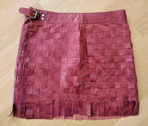 ASH Leather Skirt dark red leather