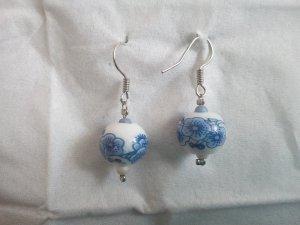 Asiatische DIY-Ohrringe weiß-blau