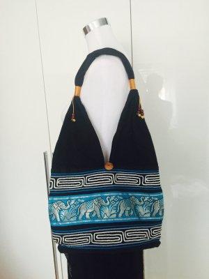 Stoffen tas zwart-turkoois