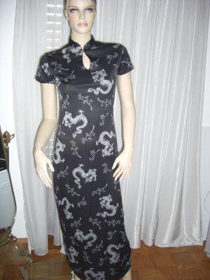Asiatisches Langes Abendkleid Schwarz/weiß Gr 38