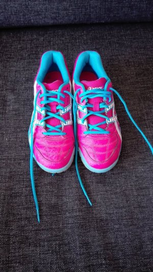 Asics Lace-Up Sneaker pink-neon blue imitation leather