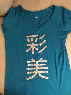 ASICS Sportshirt Shirt mit Print, Gr. XXL, türkis, NEU und ungetragen