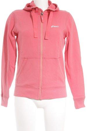 Asics Sweatjacke rosa Schriftzug gedruckt sportlicher Stil