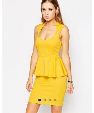 Asod Kleid schößchen Peplum Gelb 40 Midi