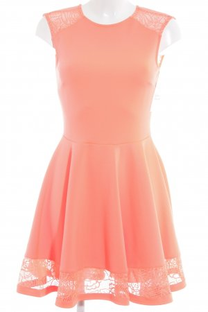 Asos A-Linien Kleid neonorange Blumenmuster Party-Look