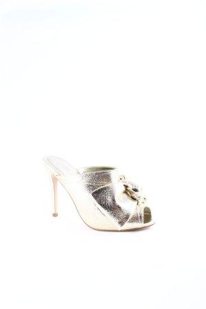 Asos Absatz Pantoletten goldfarben Street-Fashion-Look