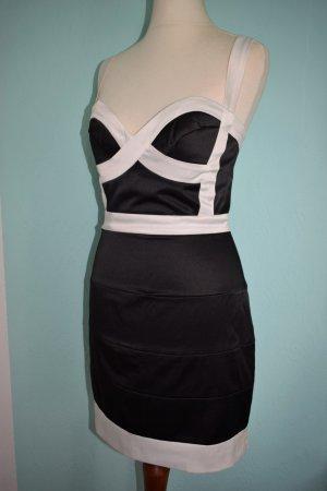 Asos Bandage Bodycon Kleid Gr. 36 schwarz weiß Satin