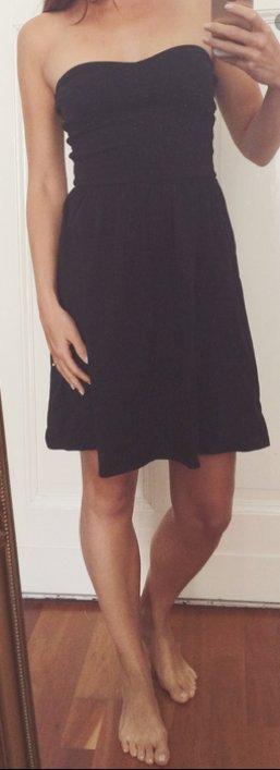 ASOS Bandeau Kleid aus Baumwolle schwarz girly bequem stretch schulterfrei S 36