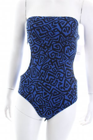 Asos Bandeautop blau-schwarz abstraktes Muster extravaganter Stil