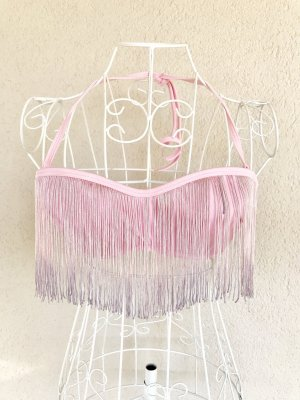 Asos Bikini Oberteil Fransen Neckholder rosa 75B