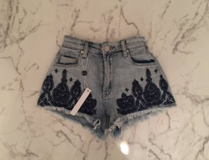 ASOS Blank NYC Bestickte Jeans Shorts Hotpants 23 Waist High Rise XS Spitze 34