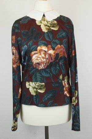 Asos Bluse Gr. 38 dunkelrot Blumen mit Schößchen langarm NEU