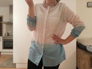 ASOS Bluse Mit Perlenkragen 36 S Ombré Farben blau rosa weiß