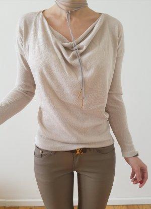 Asos Bluse XXS XS S 32 34 nude gold Wasserfall Oberteil Longshirt Tunika Shirt