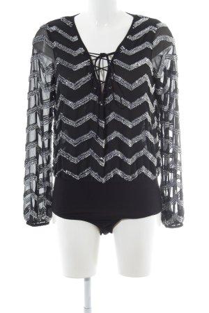 Asos Bodyblouse zwart-zilver zigzag patroon elegant