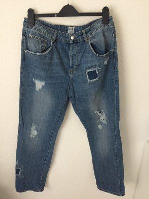 Asos Boyfriend Jeans Destroyed Blau