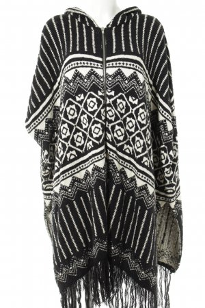 Asos Cape noir-blanc cassé Mélange de motifs style décontracté