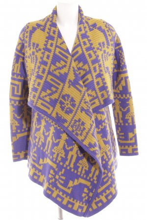 Asos Cardigan blue violet-lime yellow Aztec pattern casual look
