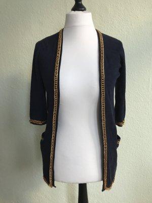 ASOS Cardigan / Strickjacke dunkelblau mit Goldketten, Größe 38