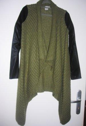 Asos Cardigan Strickjacke Leder Schwarz Khaki Gr.36 (EU Größe)