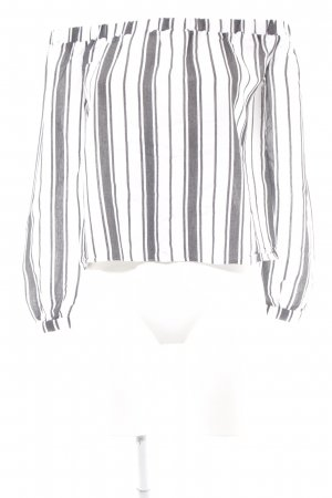 Asos Carmen Blouse anthracite-light grey striped pattern casual look