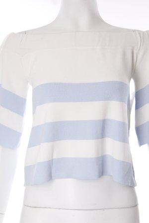 Asos Carmenshirt weiß-himmelblau Streifenmuster