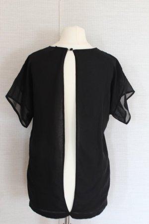 ASOS Chiffon Bluse Shirt rückenfrei schwarz Silvester