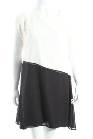 Asos Chiffonkleid weiß-schwarz Eleganz-Look