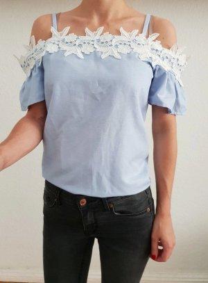 Asos Couldshoulder Bluse XS S 32 34 36 blau Offshoulder Spitze Volant Shirt Oberteil Tunika Top Neu