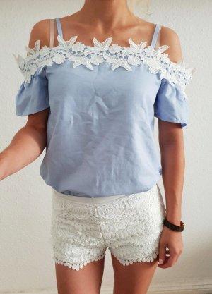 Asos Blusa in merletto bianco-blu