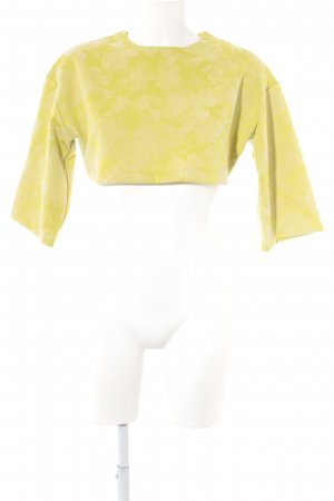 Asos Cropped Shirt lime yellow-natural white flower pattern
