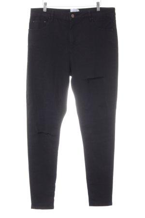 asos curve Skinny Jeans schwarz Destroy-Optik