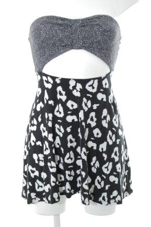 Asos Cut-Out-Kleid schwarz-wollweiß Leomuster Elegant