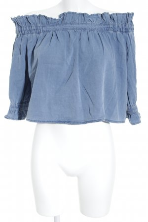 Asos Denim Carmen Shirt steel blue romantic style