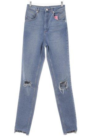 Asos Denim High Waist Jeans steel blue distressed style
