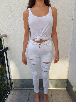 Asos Denim Ridley Enge Jeans mit Rissen in Weiß Größe 36