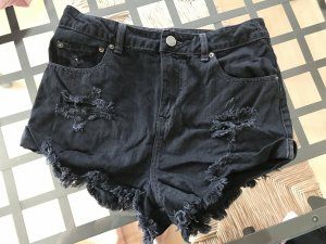 Asos Denim Shorts Schwarz Ripped Off Destroyed Used Look Highwaist