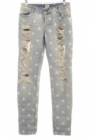 Asos Denim Straight Leg Jeans steel blue-cream spot pattern distressed style