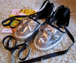 Asos Espadrille sandalen zilver-zwart
