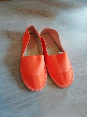 Asos Espas Espadrilles Loafers Slippers Neon Orange Satin 40