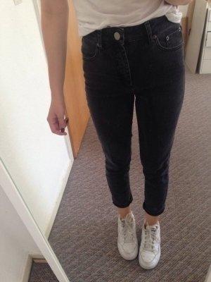 Asos Farleigh Mom Jeans mit hoher Taille dunkelgrau schwarz neu 25/30